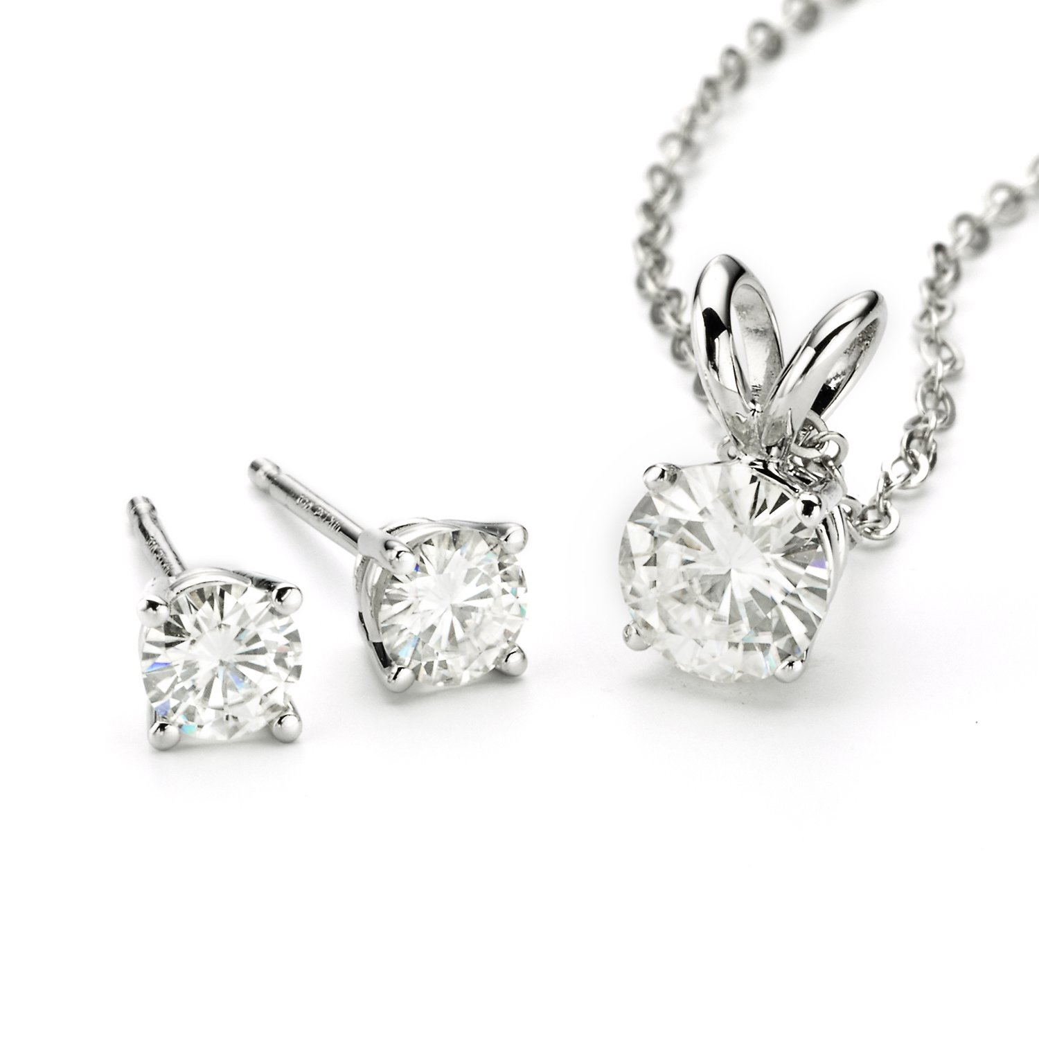Forever Classic Moissanite Earrings and Pendant Necklace Set By Charles & Colvard by Charles & Colvard