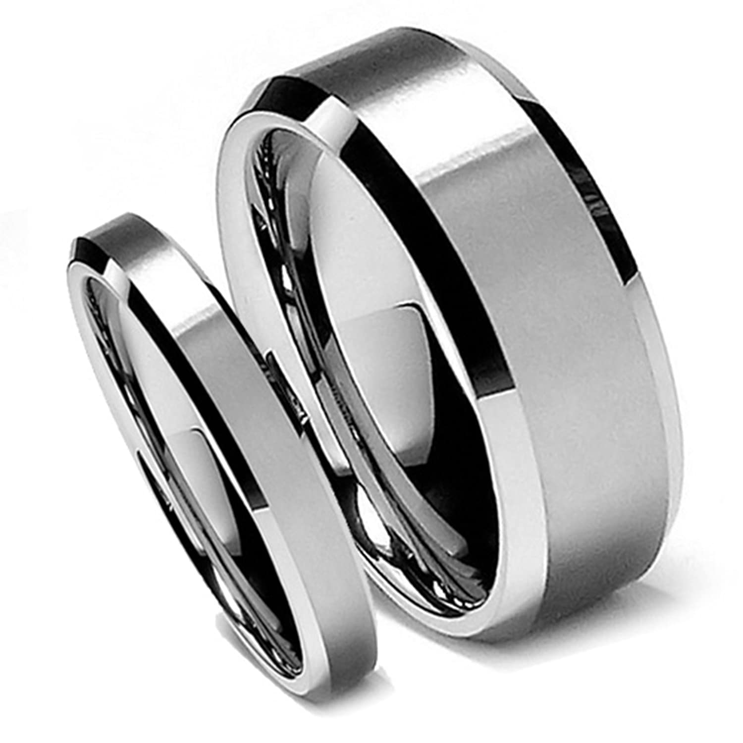 gold and rose men collections with upright rings edges tone w women for products matching ring wholesale brushed three tungsten black large band wedding silver finish couple bands stepped satin photo