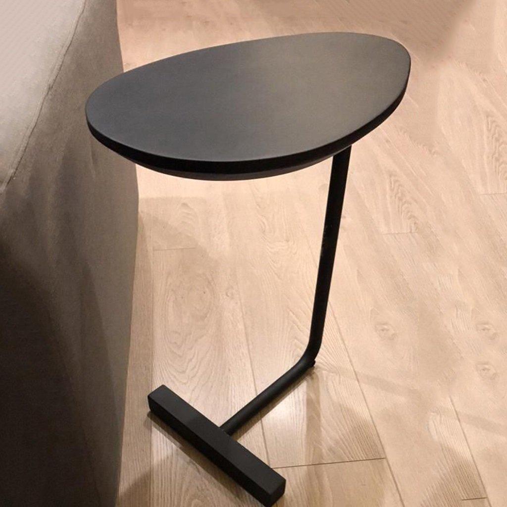 アイロンソファコーナーテーブルサイドテーブルレイジーベッドサイドリーディングテーブルクリエイティブシンプルなソリッドウッドオーバルコーヒーテーブルカラー (色 : ブラック) B07DNM6B14 ブラック ブラック