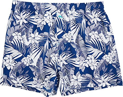 Tommy Bahama Men's Woven Boxer All Over Floral Leaves Bering Blue (Tommy Bahama Leaf)