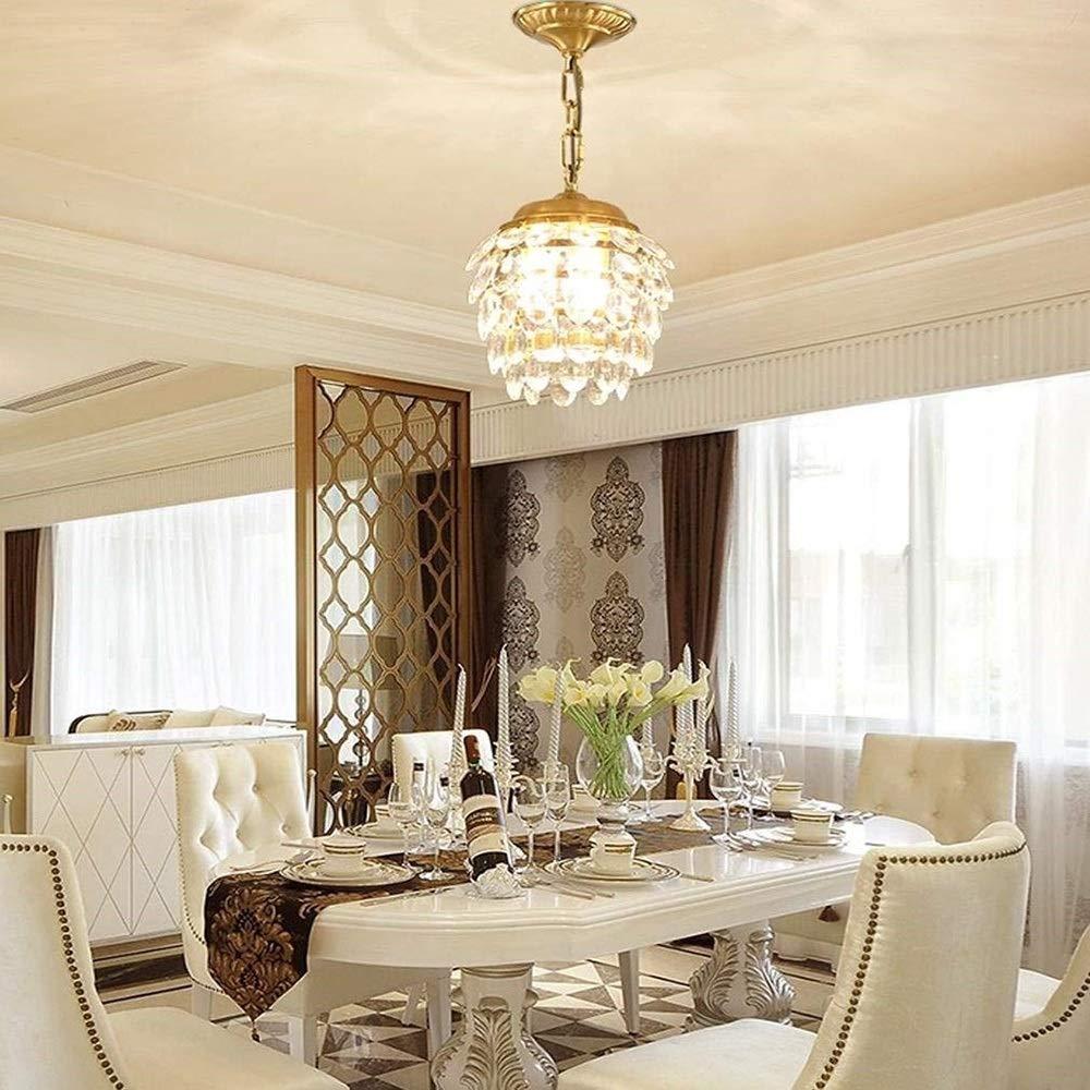 NANGE Crystal Clear Pendant Light,Modern Round Brass Adjustable Height Hanging Lighting,Living Room Hall Corridor Dining Room Chandelier,27cmH31cm,E14