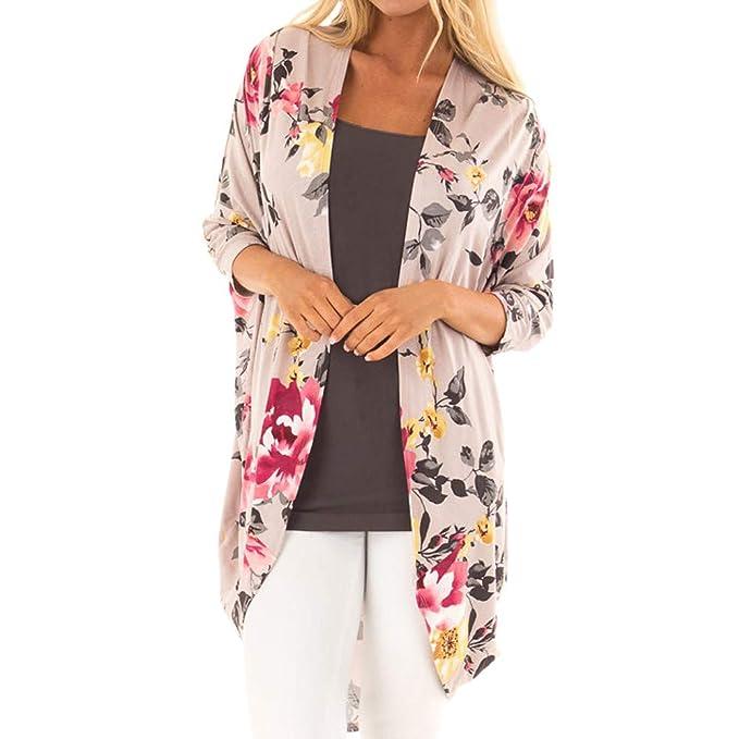 Yvelands Moda para Mujer Ropa de Playa Casual Mantón de Impresión Kimono Outwear Cardigan Top Cover