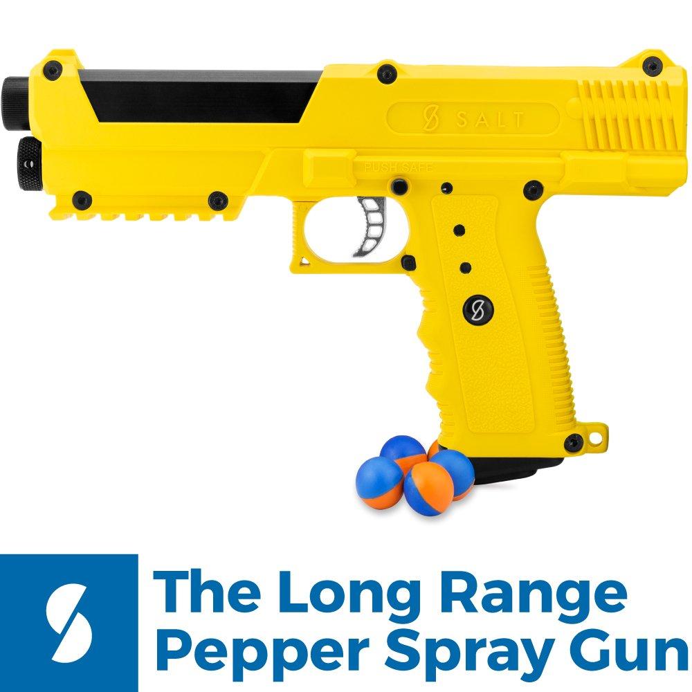 Salt Supply Pepper Spray Gun Self Defense Kit - Yellow