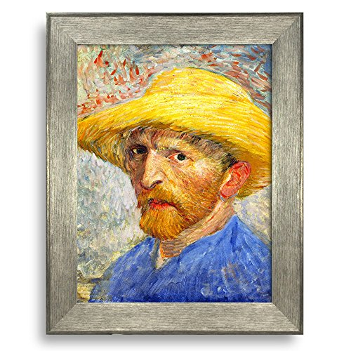 Self Portrait with Straw Hat by Vincent Van Gogh Framed Art Print Famous Painting Wall Decor Silver Frame