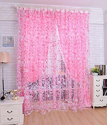 AliFish 1 Panel Pink Little Flower Pattern Decorative Sheer Curtains Rod Pocket Curtains for Girls Room/Sliding Glass Door