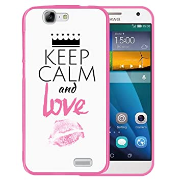 WoowCase Funda Huawei Ascend G7, [Huawei Ascend G7 ] Funda Silicona Gel Flexible Keep Calm and Love, Carcasa Case TPU Silicona - Rosa