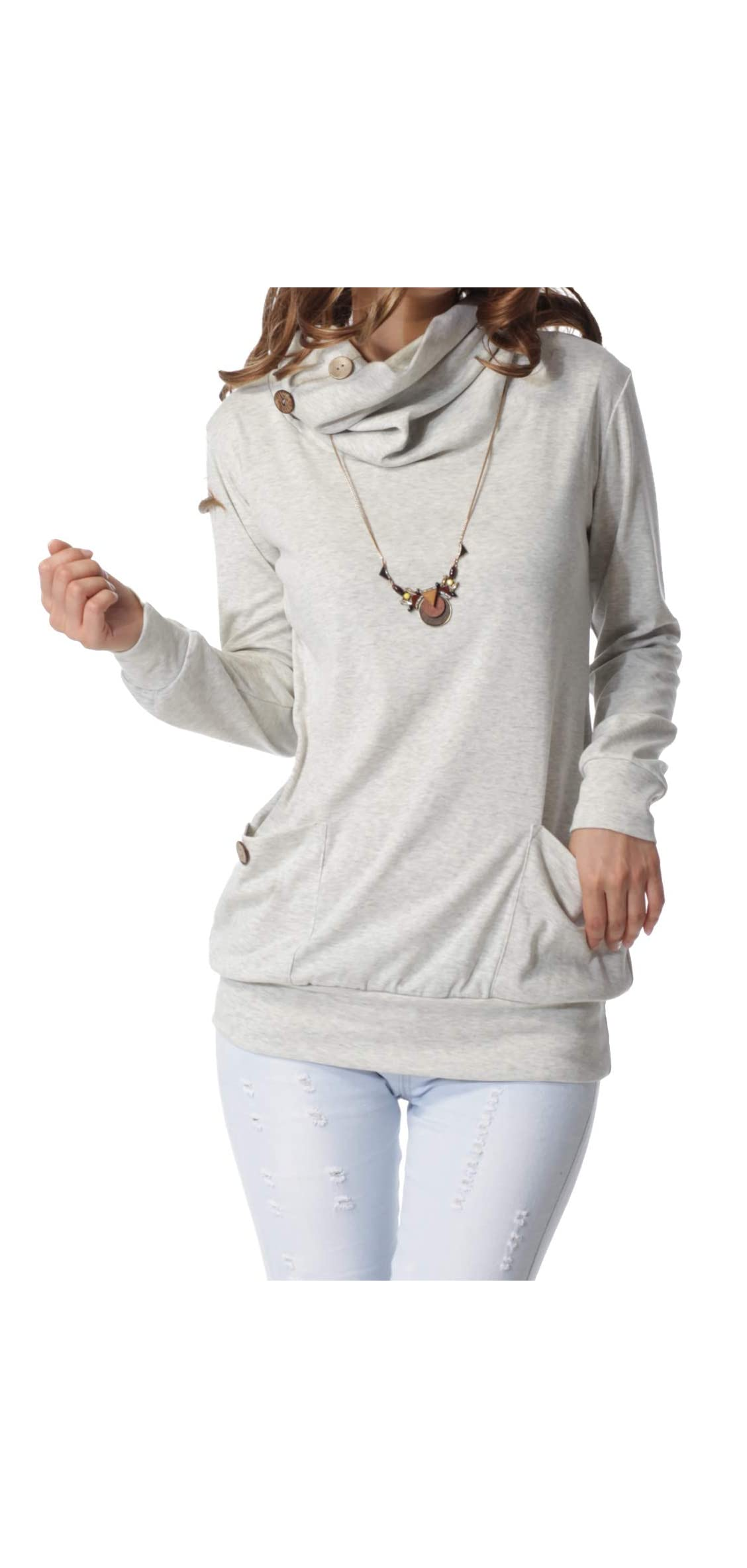 Womens Long Sleeve Button Cowl Neck Casual Slim Tunic