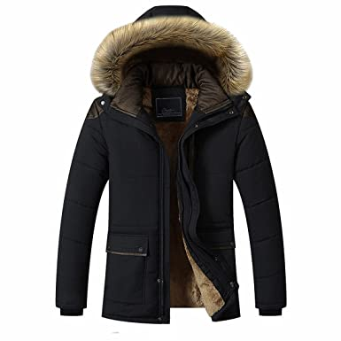 e38db3447240 CHENMA Men Winter Warm Puffer Padded Outwear Fleece Lined Parka Jacket With  Removable Faux Fur Hood