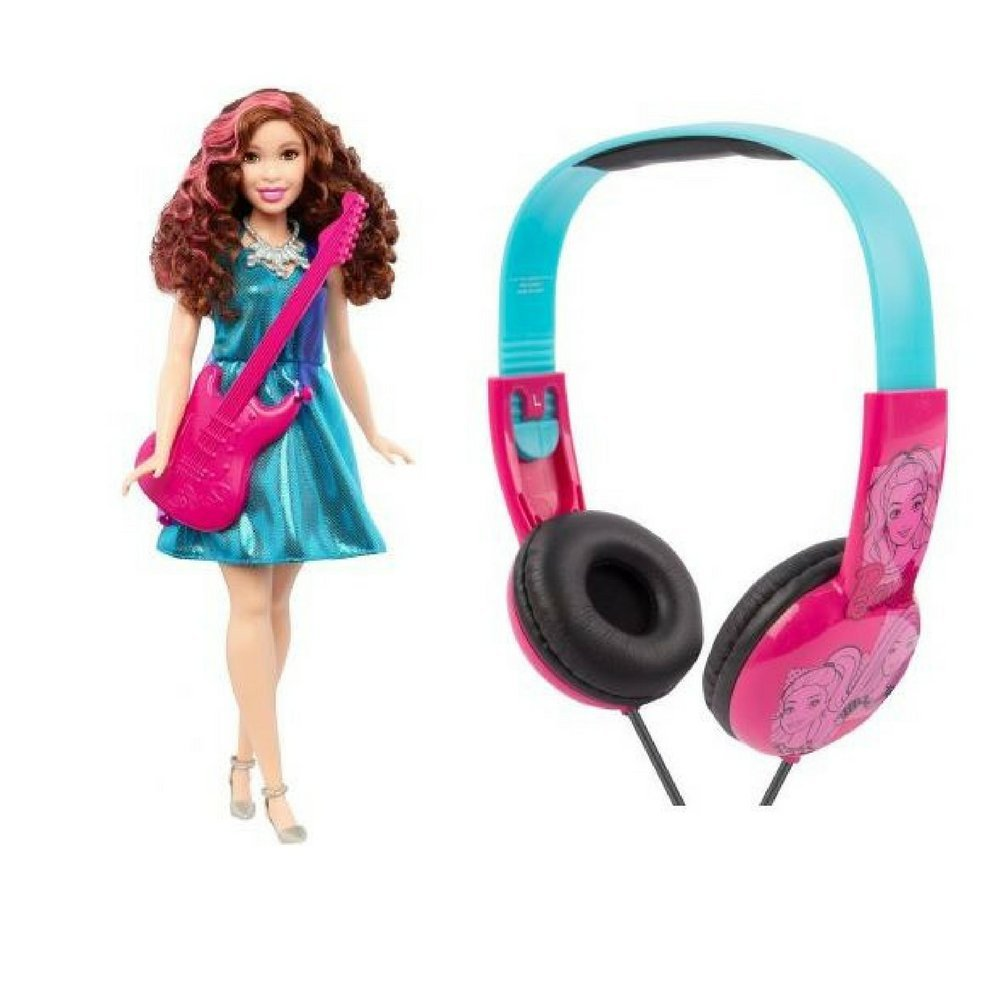 Barbie Pop Star Doll & Sakar Barbie Kid Friendly Volume Limited Headphones Bundle Great for Easter Basket Stuffers, Birthday Surprises, Vacation Car Rides and Anytime, Good for Quiet Playtime