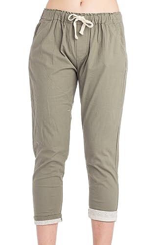 Abbino 802 Pantalones para Mujer - Hecho en ITALIA - 3 Colores - Verano Primavera Algodón Largos Fitness Sport Deporte Running Jogging Casual Chico Fashion Elegantes Rebajas - Talla única (36-40)