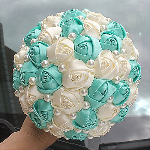 FYSTORE Advanced Customization Romantic Bride Wedding Holding Bouquet Pearl Roses Ivory,Royal Blue Multi-color Selection 18CM (Tiffany Blue+Ivory)