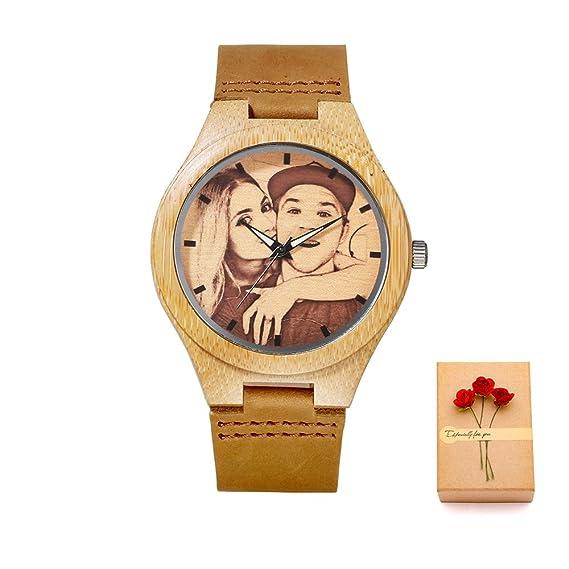 Kenon reloj personalizado reloj de cuero real deporte reloj de madera reloj personalizado reloj de cuarzo hombres y mujeres reloj mejor regalo: Amazon.es: ...
