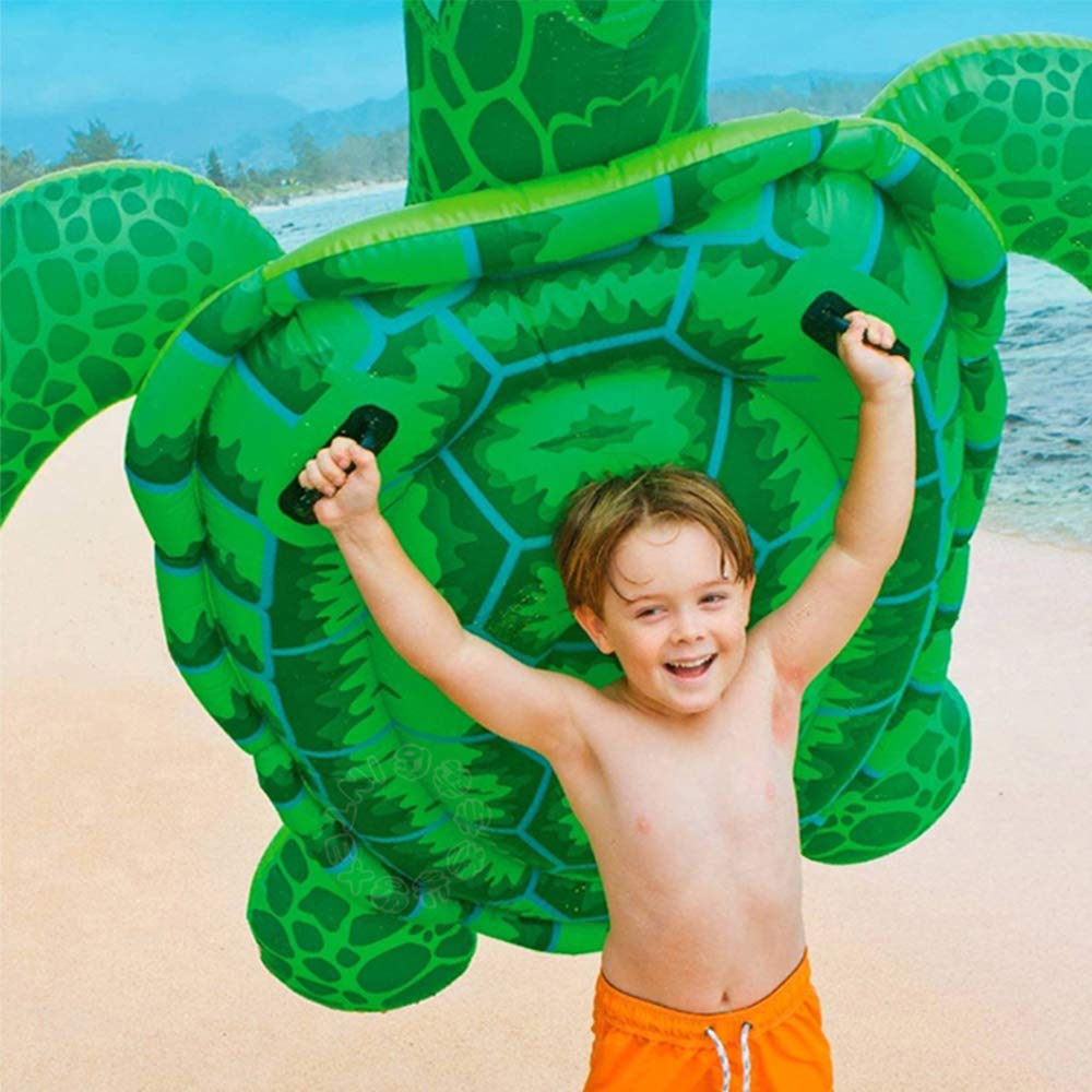 Luckstar 75'' x 67'' Sea Turtle Ride-On Inflatable Giant Turtle Float Toy Floating Bed Mat Turtle Swimming Pool Float Kids Inflate Raft Beach for Child Adults by Luckstar (Image #3)