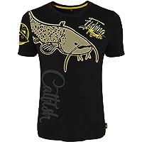 HOTSPOT DESIGN Fishing Mania Catfish, Negro, Camiseta,