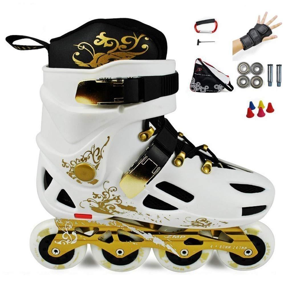 ZHANGHAIMING インラインスケート、男性と女性のためのプロのファンシースケート女子学生単列スピードスケート靴初心者、ゴールド (色 : 白, サイズ さいず : EU 38/US 6/UK 5/JP 24cm/) 白 EU 38/US 6/UK 5/JP 24cm/