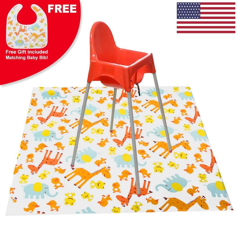 Large Baby Splat Mat for Under High Chair - Waterproof, Washable, Portable Play Mat, Art Crafts Floor/Carpet Protector, Free Matching Bib Included!
