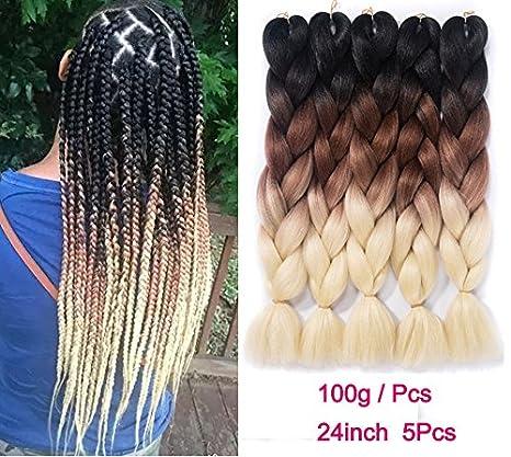 Ombre Braiding Hair Kanekalon Synthetic Braiding Hair Extensions Black-Purple-Blue Jumbo Braids 24inch 5pcs/lot Besteffie