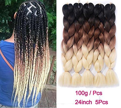 Ombre Braiding Hair Kanekalon Synthetic Hair Extensions Synthetic Fiber For Jumbo Braid Hair Bundles 24inch 5pcs/lot Ombre Black-Brown-613 ()