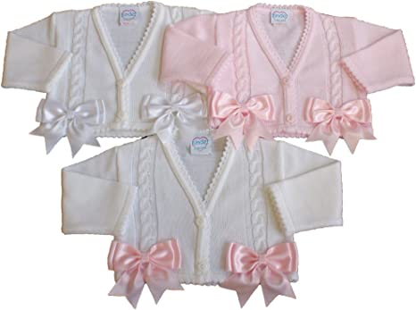 Baby Girls Bolero Cardigan Christening Wedding Bridesmaid 0-3 Months Pink