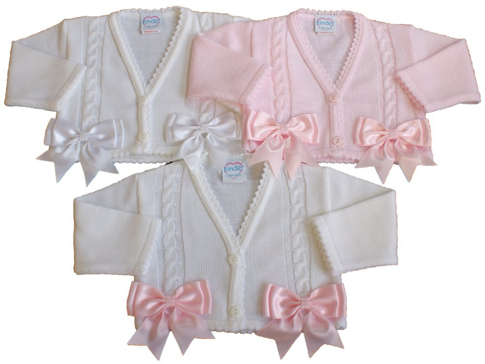 Baby bolero cardigan BOWS girls spanish style christening wedding 0-3 MONTHS WHITE G and J baby ltd
