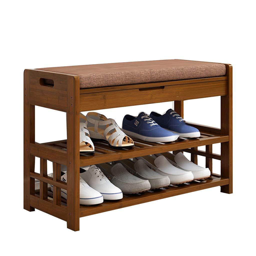 竹靴箱2段、靴オーガナイザーユニット木製廊下靴収納ベンチスタンド小さな棚クッションベンチブラウン (サイズ さいず : 49x29x69.5) B07MTM3C1G  49x29x69.5