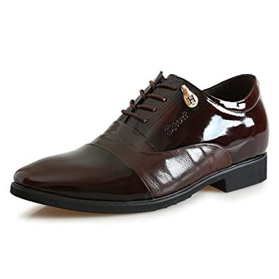 2.56 Inches Taller-Genuine Leather Invisible Elevator Oxfords For Men Formal Business Wedding Shoes