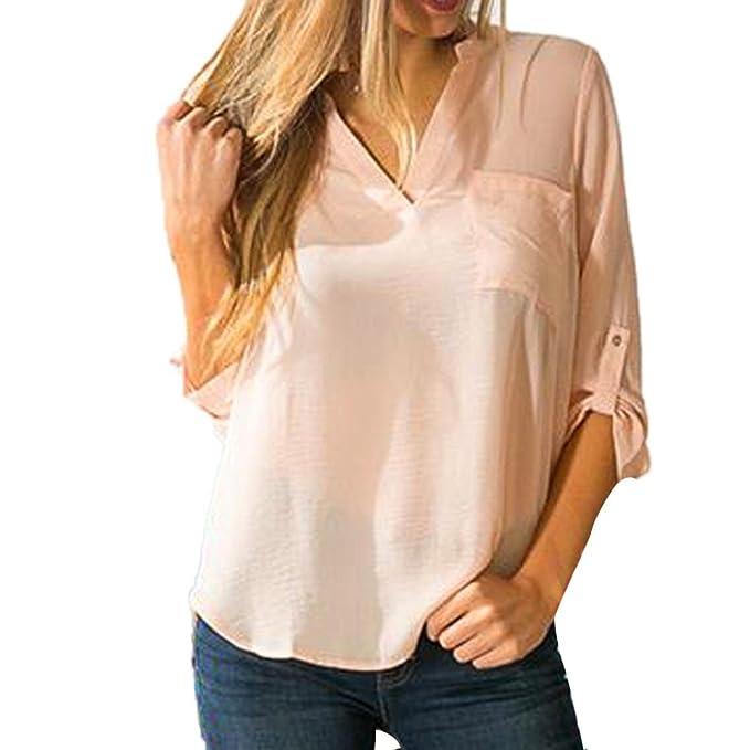 Yannerr Mujer Primavera Bolsillos Gasa Cuello V Bajo asimétrico Casual Manga Larga básica Inferior Camiseta Tops