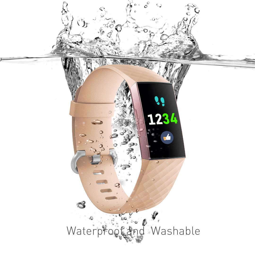 Ouwegaga Compatible for Fitbit Charge 3//SE Bands Water Resistant Fitness Wristbands Combo