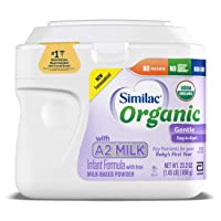 Similac Organic with A2 Milk Infant Formula, 6 Count, Gentle and Easy to Digest, with Key Nutrients for Baby's First Year, No Palm Olein Oil, Non- GMO Baby Formula Powder, 23.2-oz Each