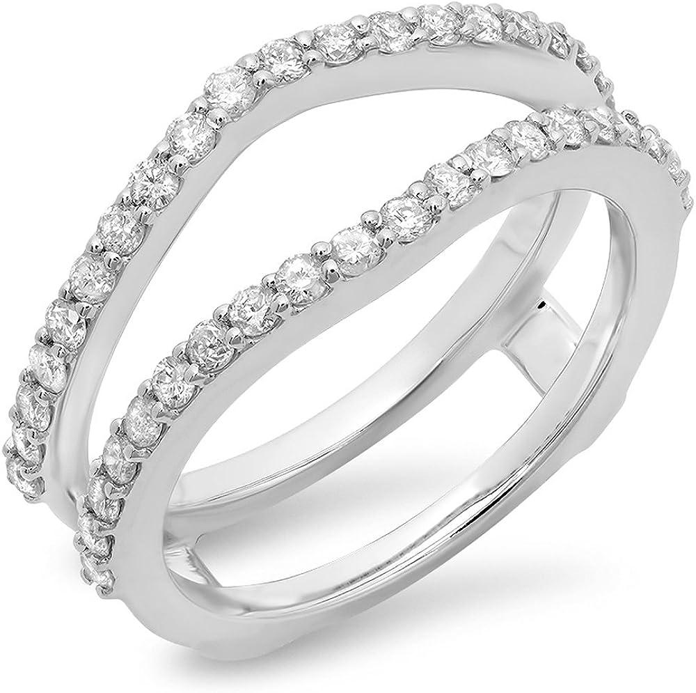 10K Gold Round Diamond Wedding Band Enhancer Guard Double Ring 1//2 CT 0.50 Carat ctw