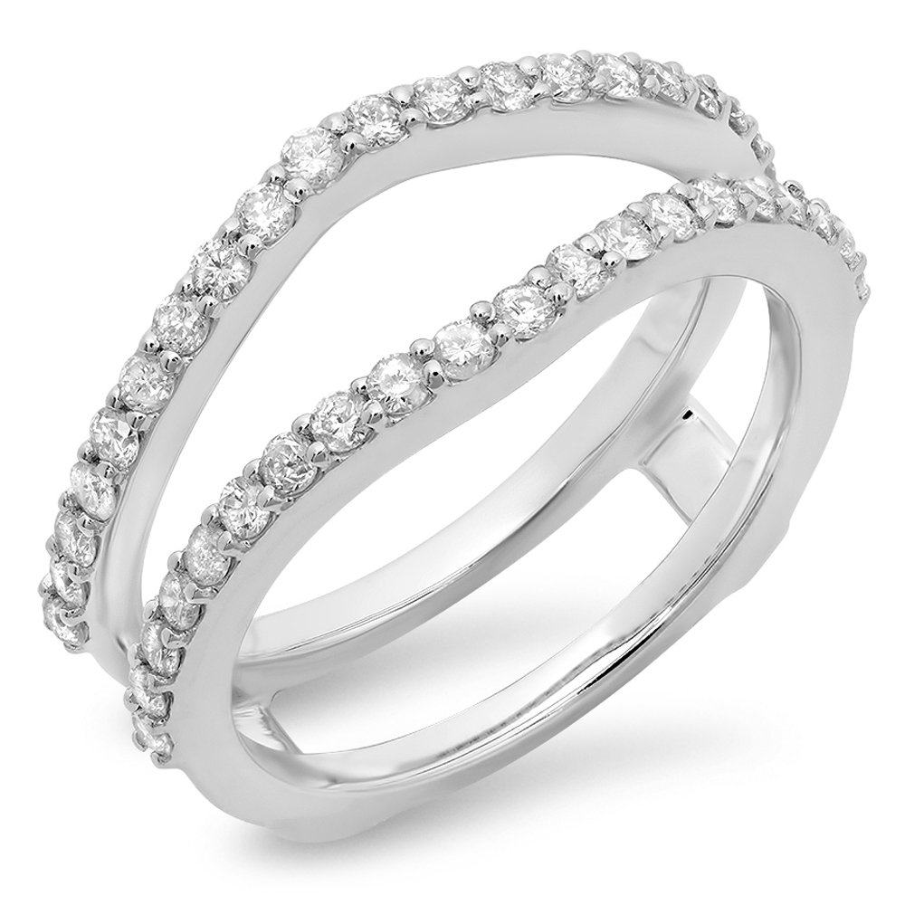 Dazzlingrock Collection 0.50 Carat (ctw) 10K Diamond Wedding Band Enhancer Guard Double Ring 1/2 CT, White Gold, Size 6