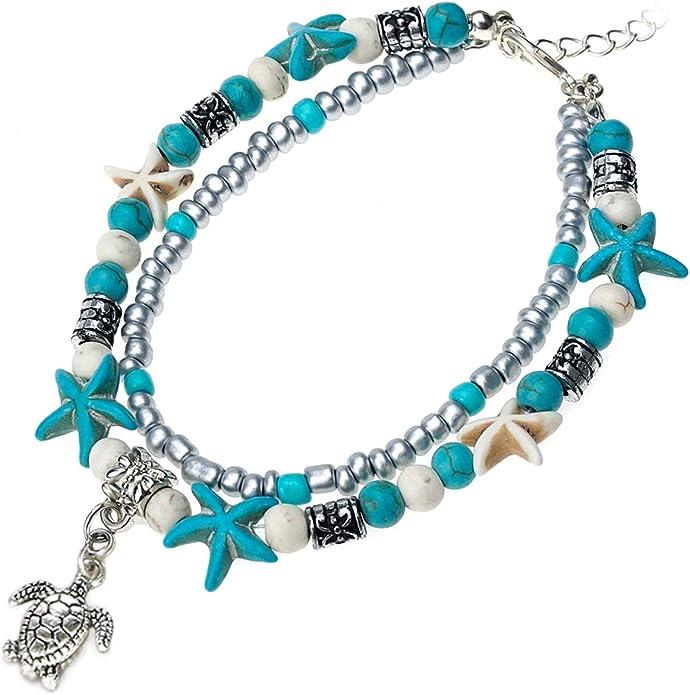 Timetries Simple Femmes Or /Étoile Pendentif Bracelet Cheville Bijoux Pieds Plage Cheville Bracelet