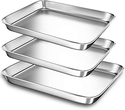 Baking Sheet Pans for Toaster Oven, Small Stainless Steel Cookie Sheets Metal Bakeware Pan, Sturdy & Heavy Rectangle Tray by Eaninno, 10 & 9 inch, 3 Piece/Set: Buy Online at Best Price in UAE - Amazon.ae