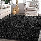 YJ.GWL Soft Shaggy Black Kids Rug for Bedroom Baby Nursery Area Rugs Plush Carpet 4 x 5.3 ft,(Black, Upgraded)