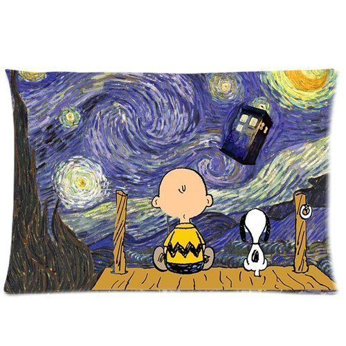 Custom Starry Night Painting Doctor Who Tardis with Funny Snoopy Pattern 10 Pillowcase Cushion Cover Design Standard Size 20X30 Two Sides by MOGUI