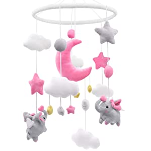 Pink Elephant Baby Girl Crib Mobile Pink and Gray Nursery Moon Stars Clouds Baby Mobile No Holder Pink Cot Mobile Soft Hanging Plush Toys