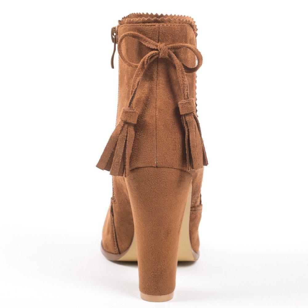 38085f92219d7 Ideal Shoes Bottines à Talon carré Effet Daim Avec Frange à l arrière  Miriana Camel 41  Amazon.fr  Chaussures et Sacs
