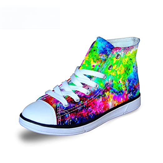 247659222725d FOR U DESIGNS Fashion Galaxy Print High Top Lace Up Comfy Lightweight  Canvas Shoes for Kids Girls Boys Walking