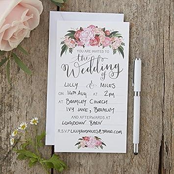 Ginger Ray Boho Einladungskarten, Von Hand Illustriert, Blumenmotive,  Fu0026uuml;r Hochzeiten 10u0026nbsp