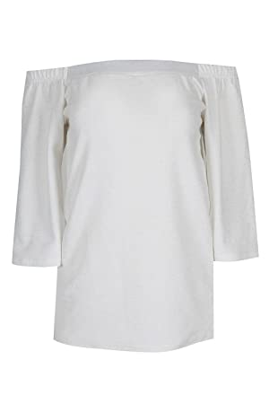 Womens Ladies Off The Shoulder Glitter 3/4 Bell Sleeves Back Split Swing Top