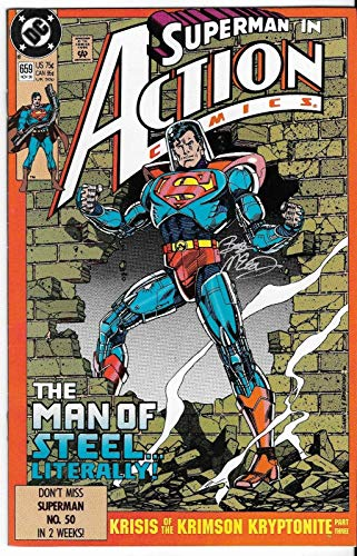 1990 Superman Action Issue #659 Dc Comic Book Signed, used for sale  Delivered anywhere in Canada