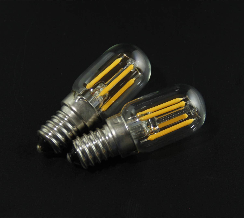 Bombilla para Campana de Cocina, E14 Regulable, Bombilla de Filamento LED T20 2 W, Equivalente a 20 W, Luz Blanca Cálida Suave 2700 K, Rosca Edison Pequeña, 2 pack: Amazon.es: Iluminación