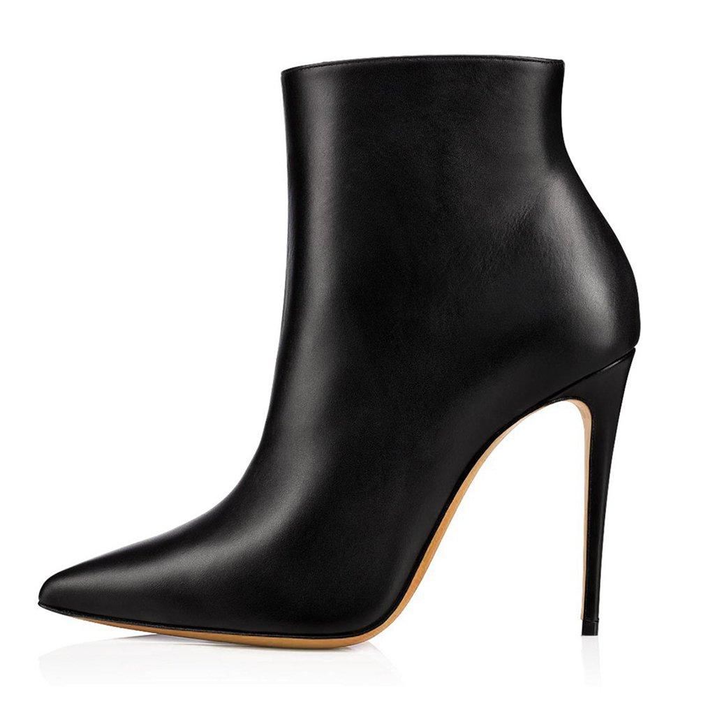 LYY.YY Botines De Tacón Alto En Blanco Y Negro con Botines De Punta Estrecha para Mujer Material De PU Zapatos con Cremallera Lateral,Black,36 36|Black
