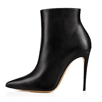 YY Botines De Tacón Alto En Blanco Y Negro con Botines De Punta Estrecha para Mujer Material De PU Zapatos con Cremallera Lateral: Amazon.es: Deportes y ...
