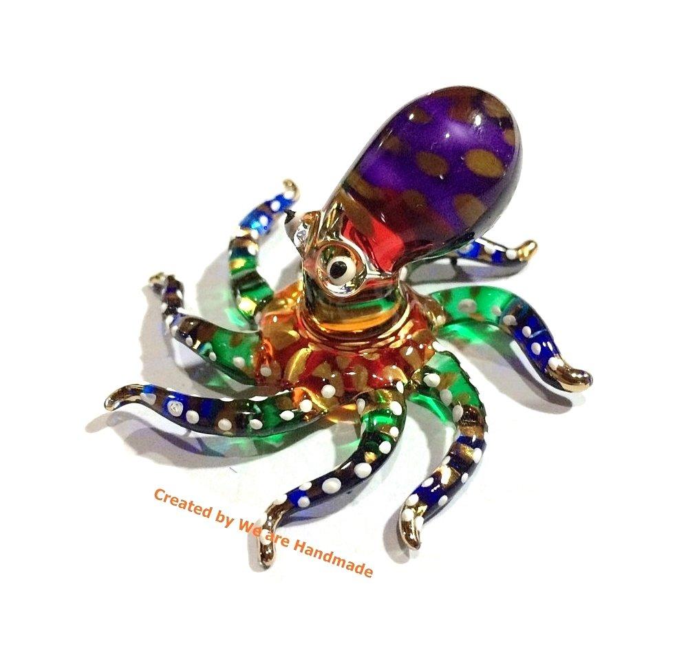 Handmade Mini Octopus Art Glass Blown Sea Animal Figurine - No.5