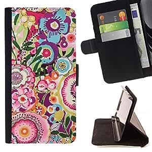 For Sony Xperia M4 Aqua Case , Diseño floral Dibujo Pink Teal- la tarjeta de Crédito Slots PU Funda de cuero Monedero caso cubierta de piel