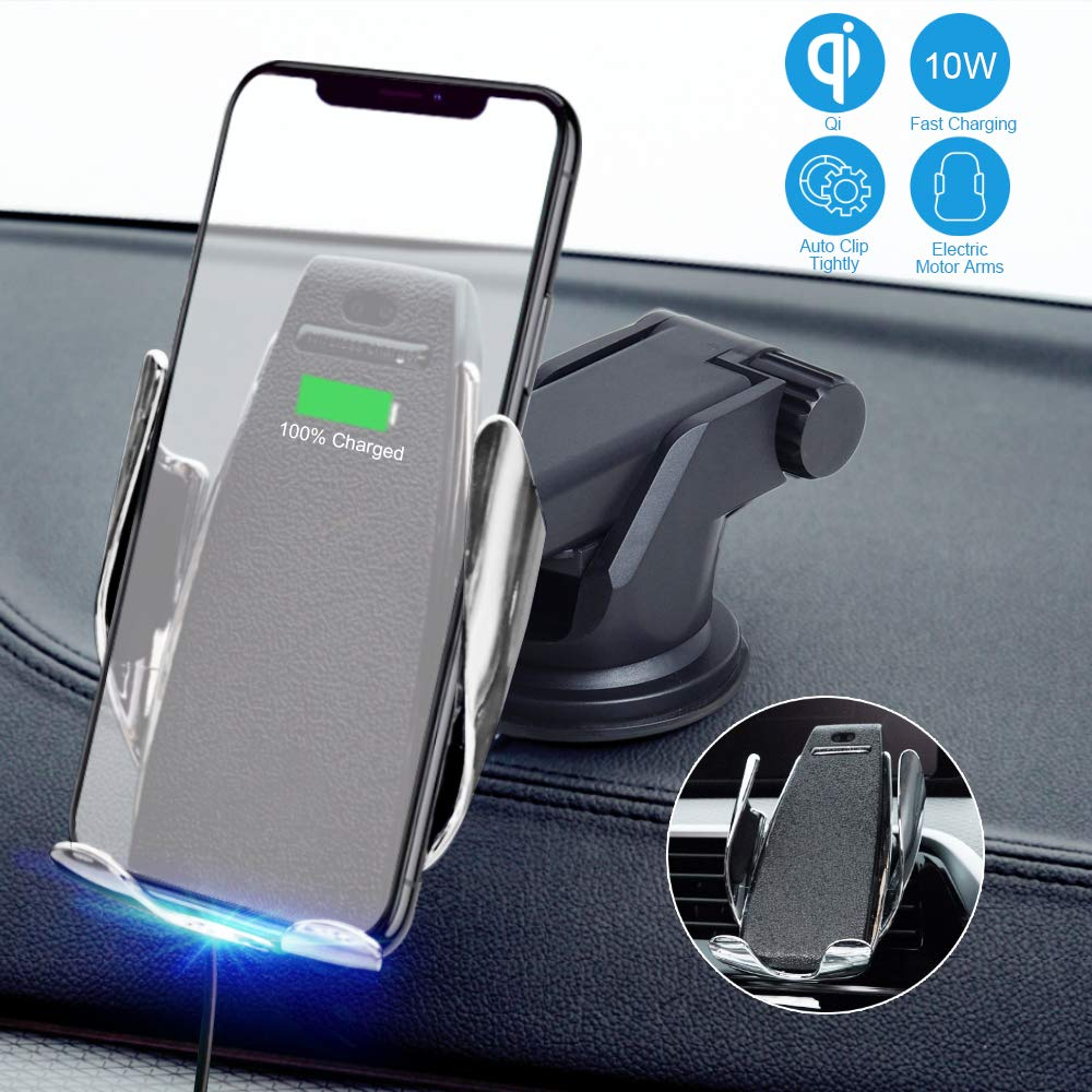 JeeYu Wireless Car Charger Mount, Automatic Clamping Qi 10W 7.5W Fast Charging & 5W Car Mount, Windshield Dashboard Air Vent Phone Holder Compatible with iPhone Xs Max XR 8, Samsung S10 S9 S8 Note 9