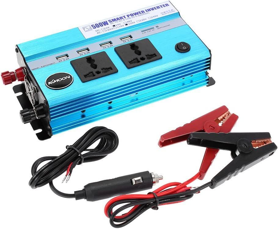 KKmoon Inversor de corriente de coche de 500 W convertido con 2 salidas eléctricas y 4 puertos USB para CC 24 V a CA 220 V 50 Hz con 4 puertos USB / 2 salidas de CA