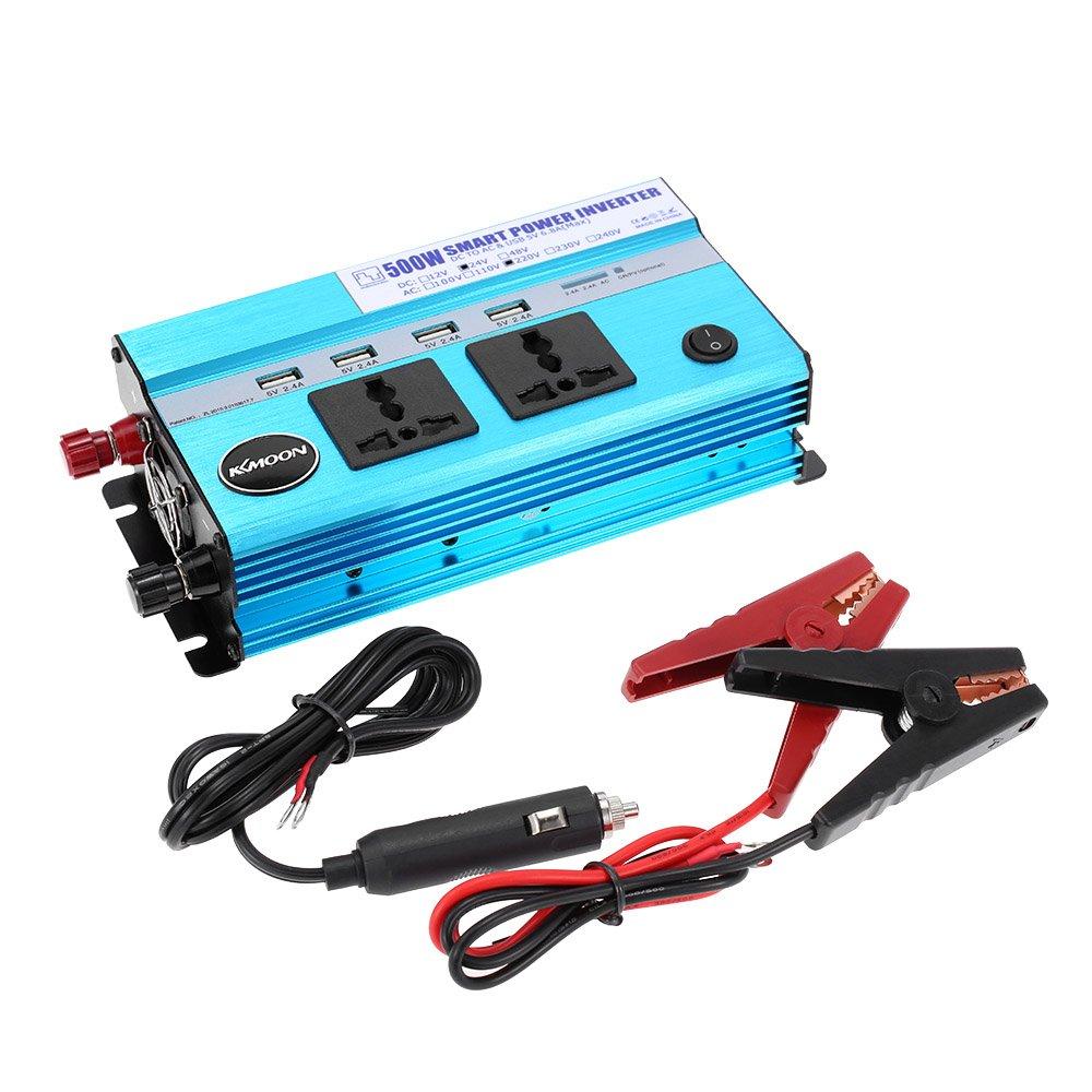 KKmoon 500W Auto Inverter di Potenza DC 12V a AC 220V 50Hz con 4 USB Porte / 2 AC Prese