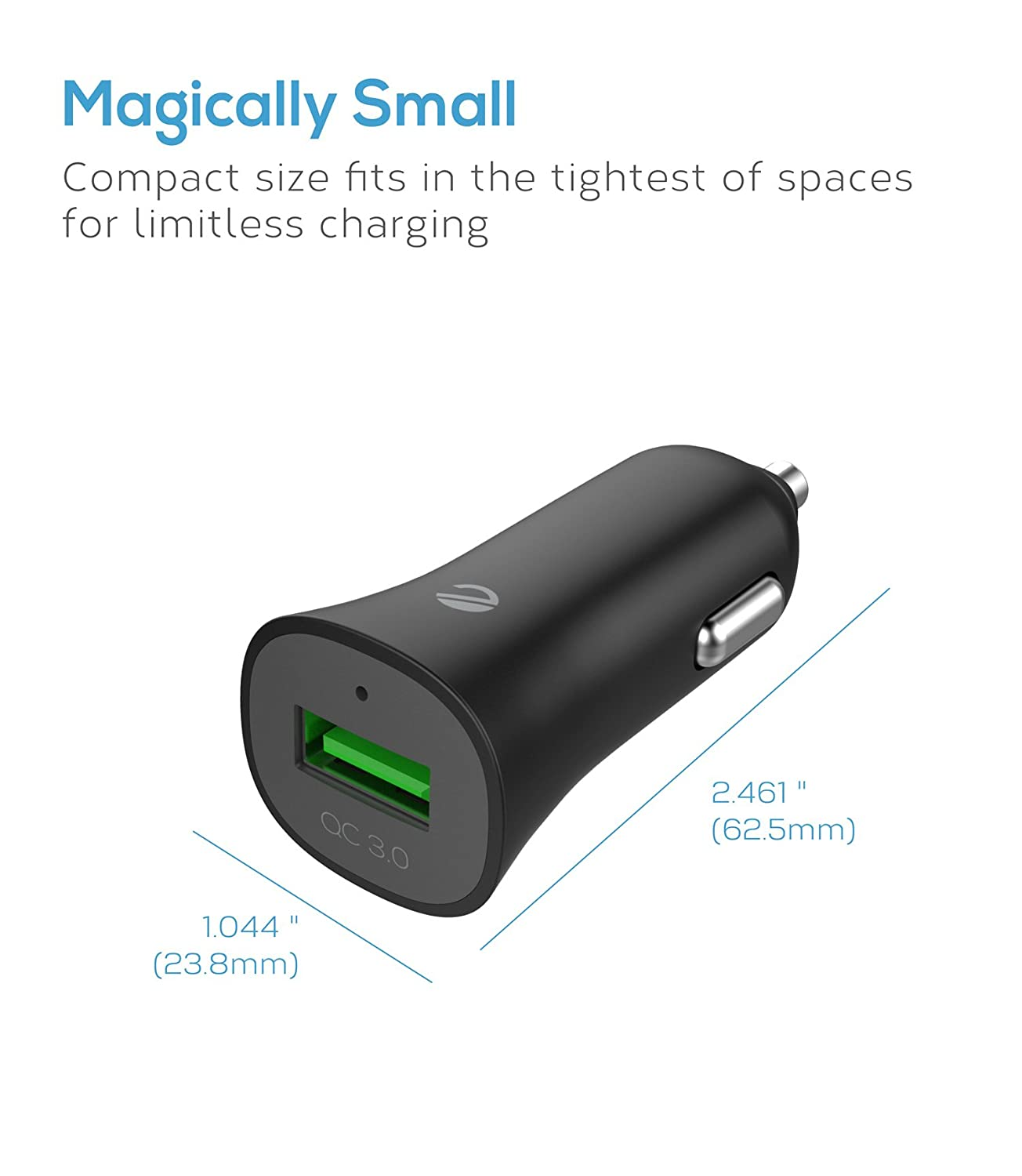 iPad Pro//Air//Mini Note 8//5//4 and smartIC Charging for iPhone 8//7//6s HTC LG eeco Car Charger Quick Charge 3.0 USB Adapter 18W Fast Charging for Galaxy S8//S7//S6//Edge//Plus Nexus etc.